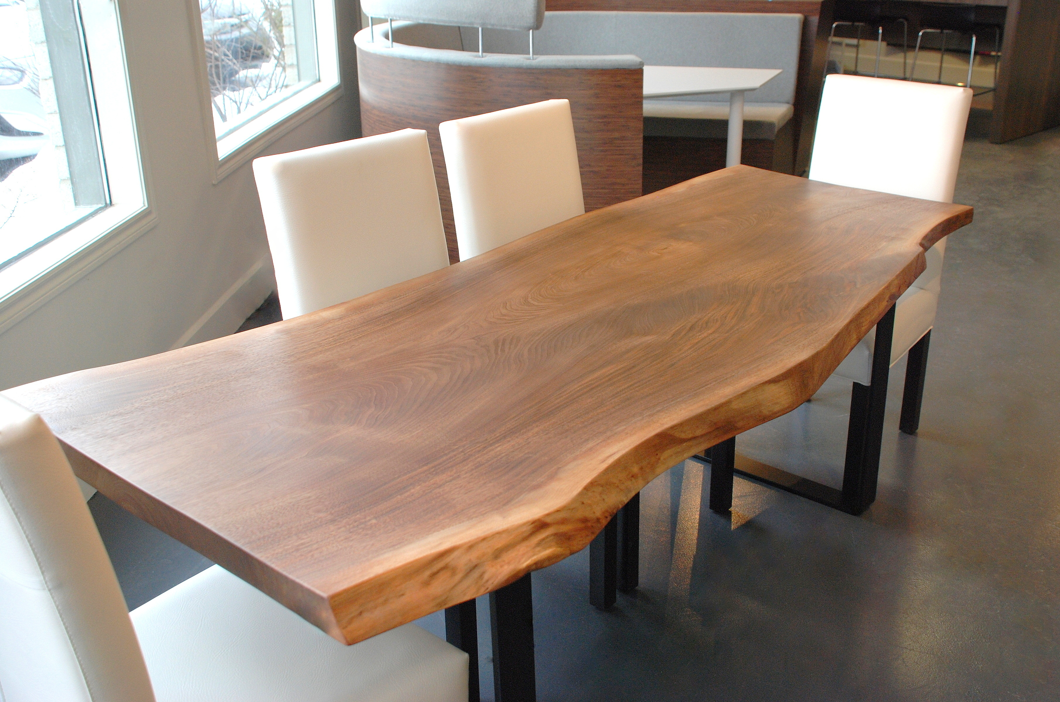 natural illinois furniture live hardwood slab dundee living conference slabs store dried kiln walnut black dining table with area edge and showroom chicago in tables on east the sycamore custom il at